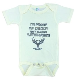 "Limit Out Supply Co. Onesies "" Proof My Dad Doesnt Always Hunt & Fish"""