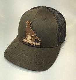 Richardson Leather Labrador Hat / Chocolate/ Grey Brown Mesh