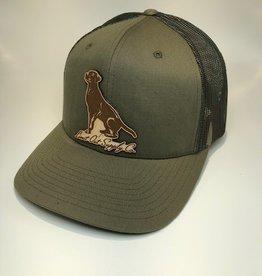 Richardson Leather Labrador Hat / Loden/ Green Camo Mesh