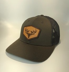Richardson Leather LOGO Hat / Chocolate/ Grey Brown Mesh