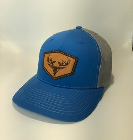 Richardson Leather LOGO Hat / Cobalt Blue/ Grey Mesh