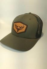 Richardson Leather LOGO Hat / Loden/ Green Camo