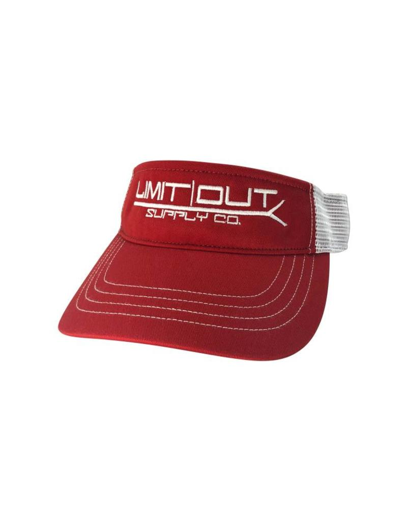 Richardson PushPole Visor  Red/ White Mesh