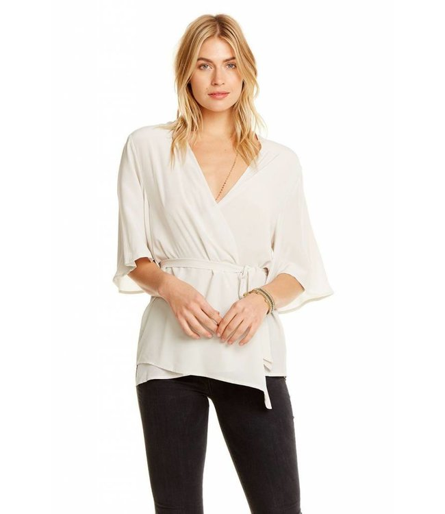 CHASER CHASER Silk Wrap Top