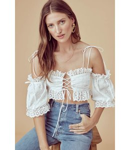 For Love & Lemons Anabelle Eyelet Crop Size Small