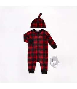 Petit Lem Petit Lem Cozy Cabin Plaid Set with Romper, Hat and Socks
