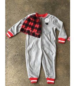 Petit Lem Petit Lem Grey Bear Onesie & Hat Pajama Set
