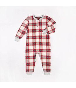 Petit Lem Petit Lem Happy Holidays Plaid One-Piece Pajama