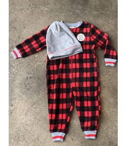 Petit Lem Petit Lem Plaid Bear Onesie & Hat Pajama Set