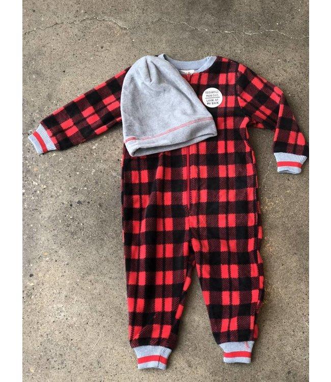 Petit Lem Petit Lem Plaid Bear Onesie & Hat Pajama Set