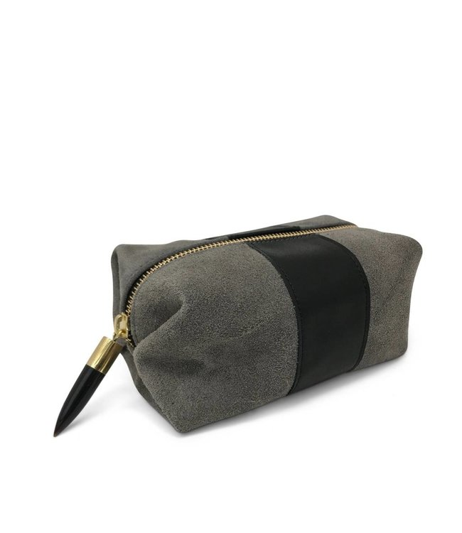 Kempton & Co. Kempton & Co. Storm Suede/Black Stripe Cosmetic Case