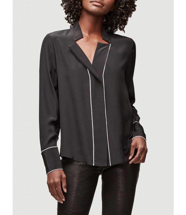 FRAME Notch Collar Blouse-Black Size L