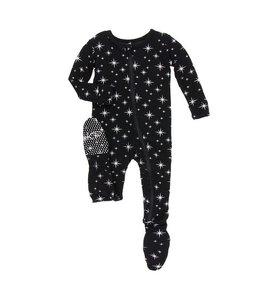 KicKee Pants Kickee Pants Footie Sleeper-Silver Bright Stars