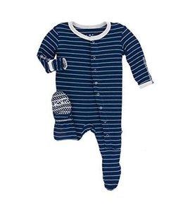 KicKee Pants Kickee Pants Footie Sleeper-Tokyo Navy Stripe
