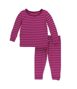 KicKee Pants Kickee Pants Long Sleeve Pajama Set-Dragonfruit Stripe