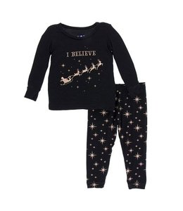 KicKee Pants Kickee Pants Long Sleeve Pajama Set-Rose Gold Bright Stars 10Y
