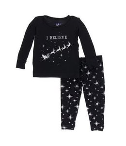 KicKee Pants Kickee Pants Long Sleeve Pajama Set-Silver Bright Stars