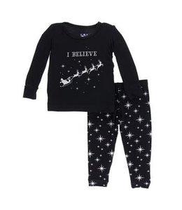 KicKee Pants Kickee Pants Long Sleeve Pajama Set-Silver Bright Stars
