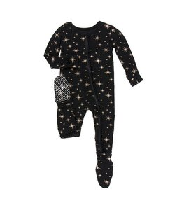 KicKee Pants Kickee Pants Ruffle Footie Sleeper-Rose Gold Bright Stars