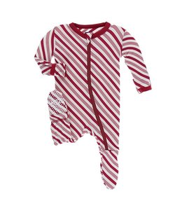 KicKee Pants Kickee Pants Footie Sleeper-Rose Gold Candy Cane Stripe