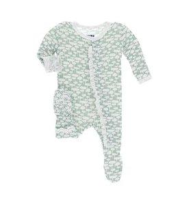 KicKee Pants Kickee Pants Ruffle Footie Sleeper-Jade Mushroom