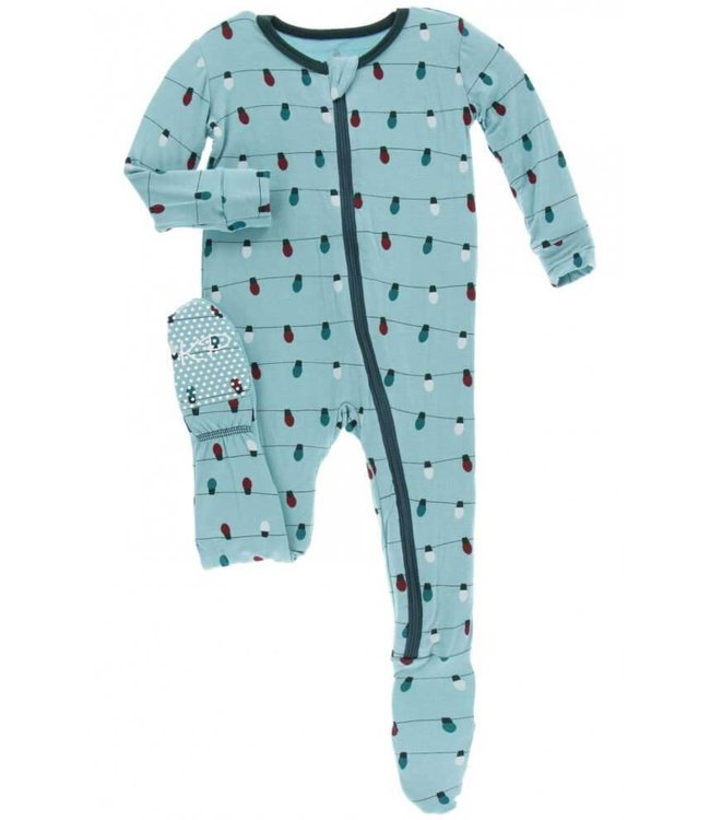 KicKee Pants Kickee Pants Footie Sleeper-Glacier Holiday Lights 9-12M