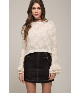 Moon River Moon River Bubble Sleeve Top-Ivory
