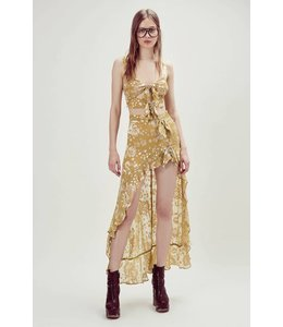 For Love & Lemons Cosmo Asymetrical Skirt-Mustard