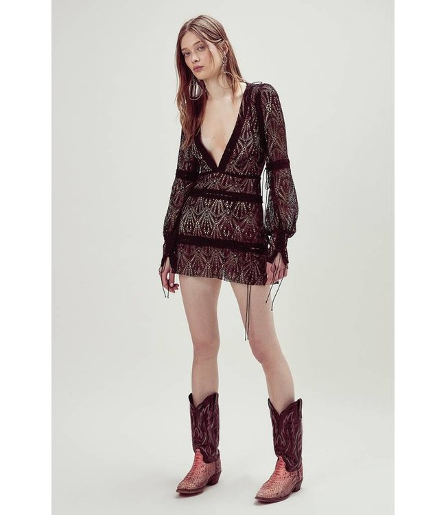 For Love & Lemons Bright Lights Mini Dress-Black