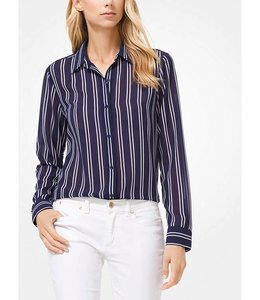Michael Kors Striped Georgette Blouse-Navy