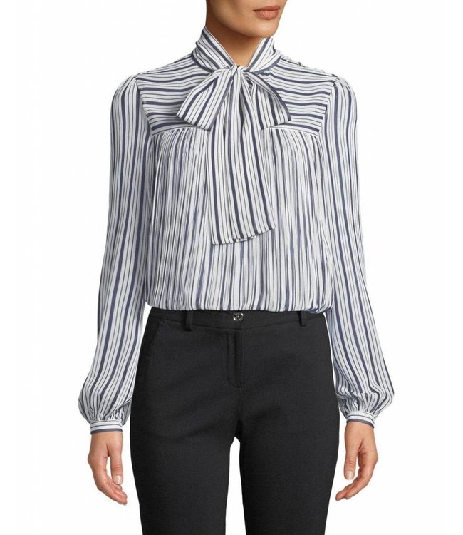 Michael Kors Michael Kors Carolina Neck Tie Blouse-Navy