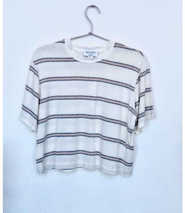 David Lerner David Lerner Stripe Drop Shoulder Crop Tee-White