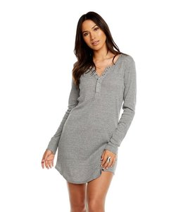 CHASER Chaser Triblend Henley Shirt Dress