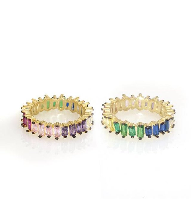 NYCS NYCS Multicolor Baguette Ring