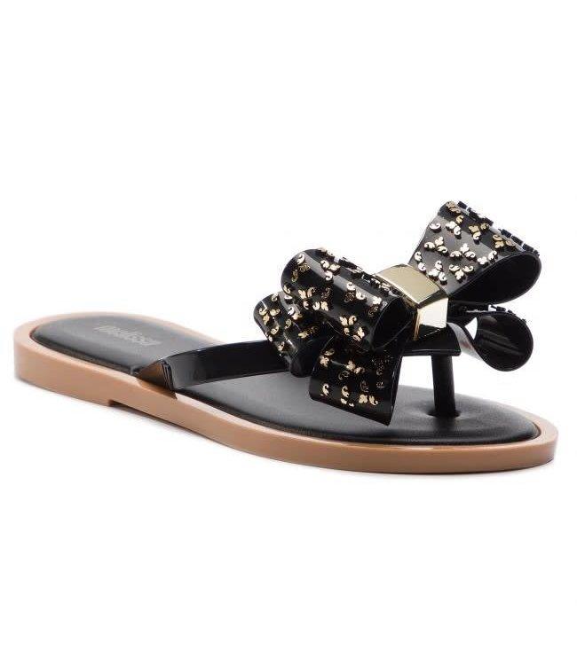 Mini Melissa Melissa Flip Flop Sweet Shoe-Black/Beige