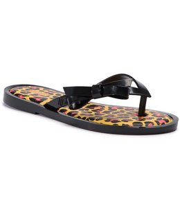 Mini Melissa Melissa Flip Flop Animal Print-Black/Yellow