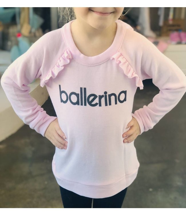 CHASER Chaser Cozy Knit Ruffle Raglan Pullover-Ballerina