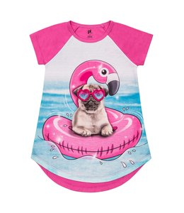 Petit Lem Petit Lem Girls Knightgown- Pug Party