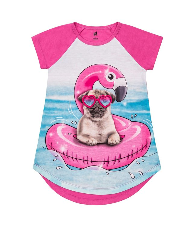 Petit Lem Petit Lem Girls Knightgown- Pug Party