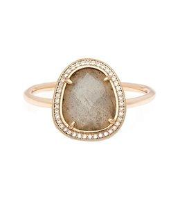 Melanie Auld Melanie Auld Stone Slice Ring-Labradorite Brass/Gold Size 7