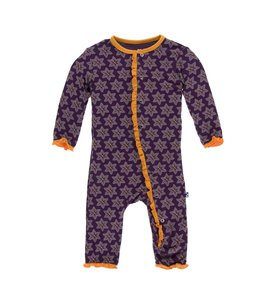 KicKee Pants Kickee Pants Layette Ruffle Coverall-Wine Grapes Saffron