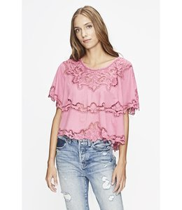 Love Sam Monceau Embroidered Top-Raspberry
