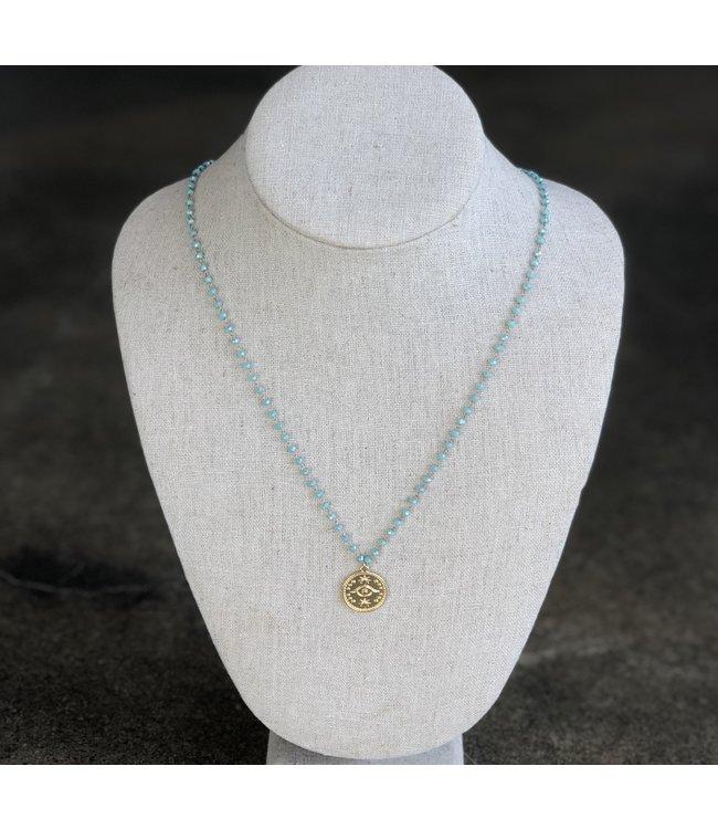 FINE Label FINE Label Evil Eye Beaded Necklace-Turquoise