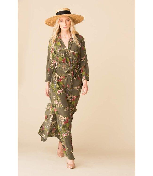 L'AGENCE L'AGENCE Cameron Long Shirt Dress-French Moss