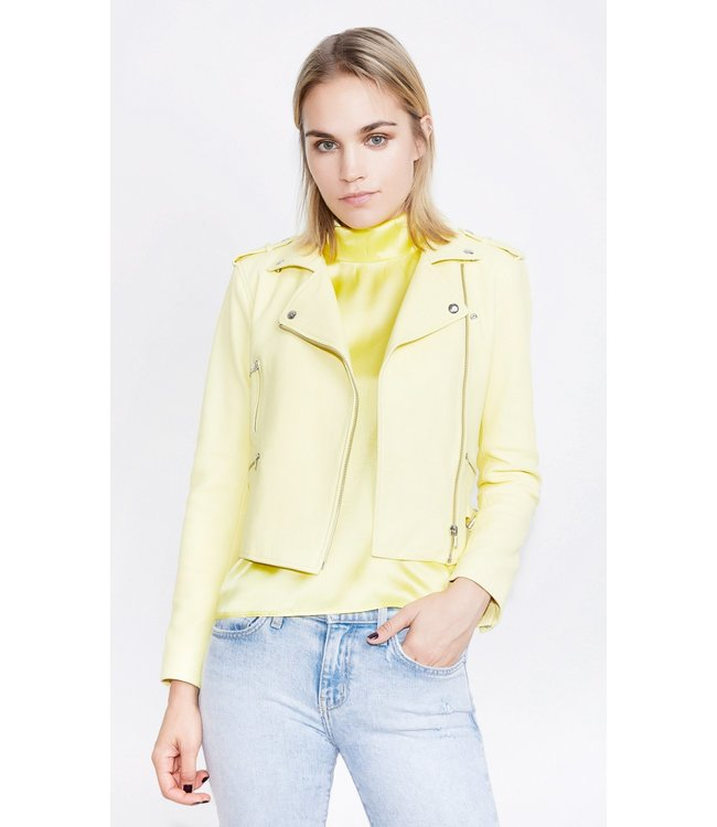 Generation Love Generation Love Spencer Leather Moto Jacket-Yellow