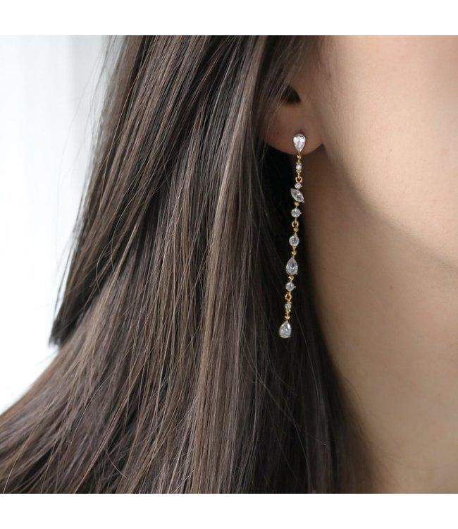 Statement Grey Rose Earring