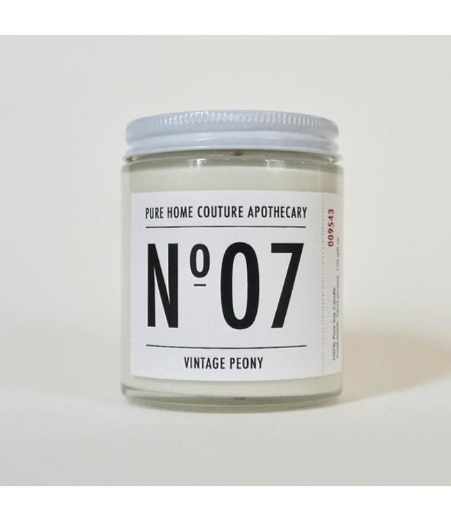 Pure Home Couture Apothecary Number Candle Vintage Peony No.07
