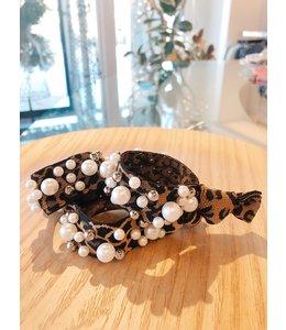 FINE Label Leopard Pearl Hair Tie