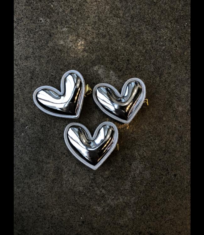 FINE Label Puffed Heart Hair Clip-Silver