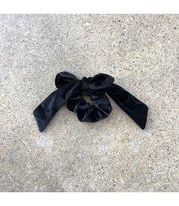 FINE Label Scrunchie Bow Hair Tie-Black
